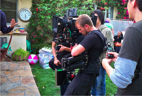 Noah operating Steadicam for promotional shoot